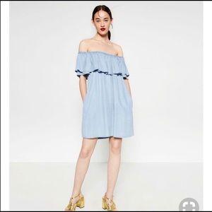 Zara Chambray Off The Shoulder Flutter Dress
